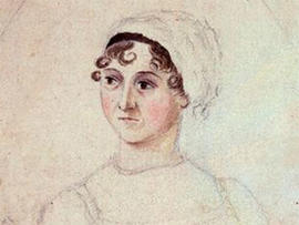 A pencil drawing of British author Jane Austen, c. 1810, by her sister, Cassandra Austen.