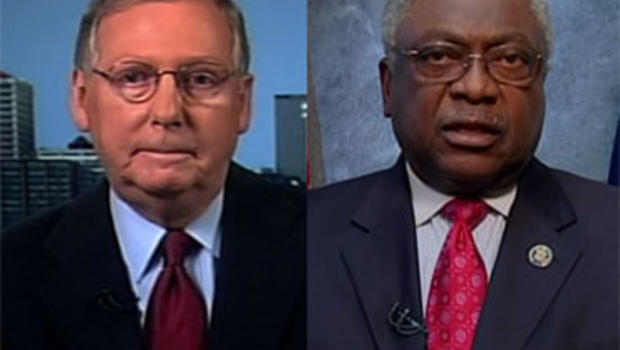 On CBS' Face the Nation, Senate Minority Leader Mitch McConnell, left, said he owed it to the American people to repeal President Obama's health care reform bill. House Majority Whip James Clyburn dared the Republicans to try.