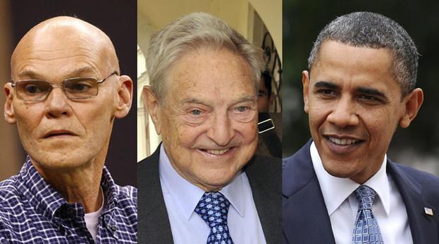 Barack Obama, James Carville, George Soros