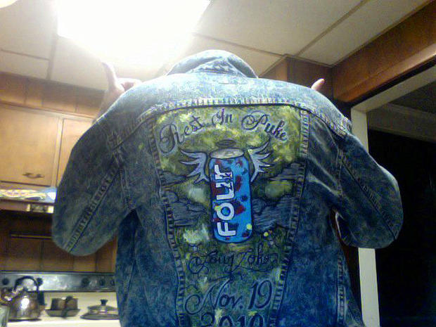 Four Loko jacket on a Facebook site mourning the drink's passing.