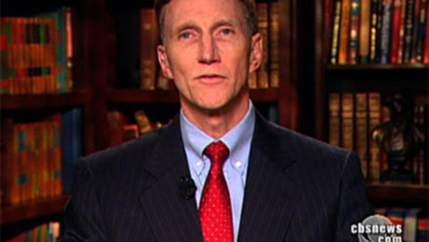 """John Pistole, head of the Transportation Security Administration, answers a question asked by """"CBS Evening News"""" Anchor Katie Couric Nov. 22, 2010."""