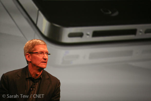 Apple CEO Tim Cook at the Verizon iPhone event earlier this year.