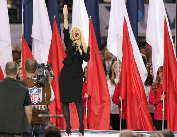 ARLINGTON, TX - FEBRUARY 06: Singer Christina Aguilera performs during the Bridgestone Super Bowl XLV Pregame Show at Dallas Cowboys Stadium on February 6, 2011 in Arlington, Texas. (Photo by Christopher Polk/Getty Images)
