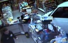 Mini-Van Crashes into Store Twice