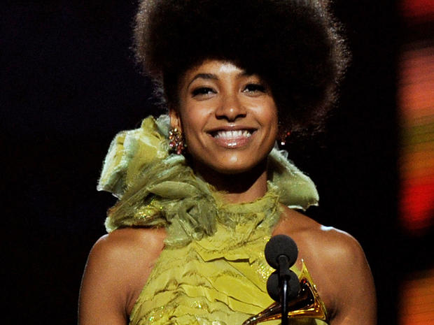 Esperanza Spalding accepts the Best New Artist Award during the 53rd Annual GRAMMY Awards in 2011.