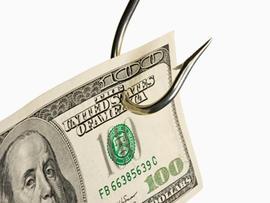 Fish Hook with Hundred Dollar Bill