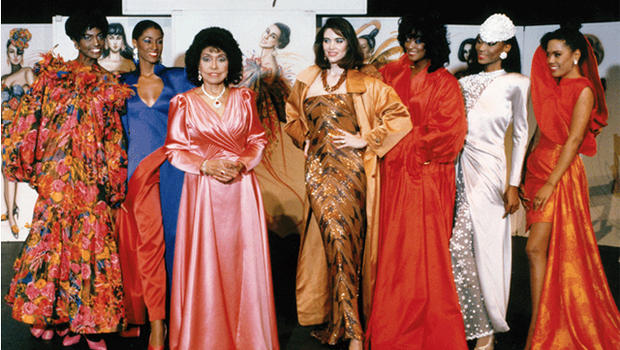 Mrs. Eunice W. Johnson joining Ebony Fashion Fair models during a spring 1991 show.