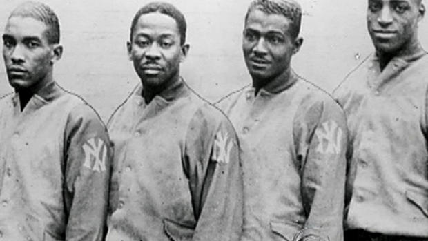 """Members of """"The Harlem Rens"""" are seen in the documentary film, """"On the Shoulders of Giants.&"""