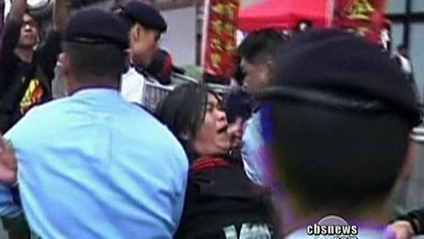 Police cracked down heavily on protesters and journalists during pro-democracy demonstations Sunday.