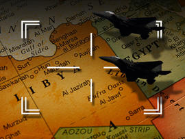 Target sights and planes flying over a map of Libya