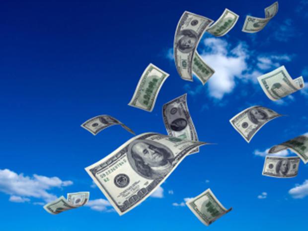 Money flying through the air