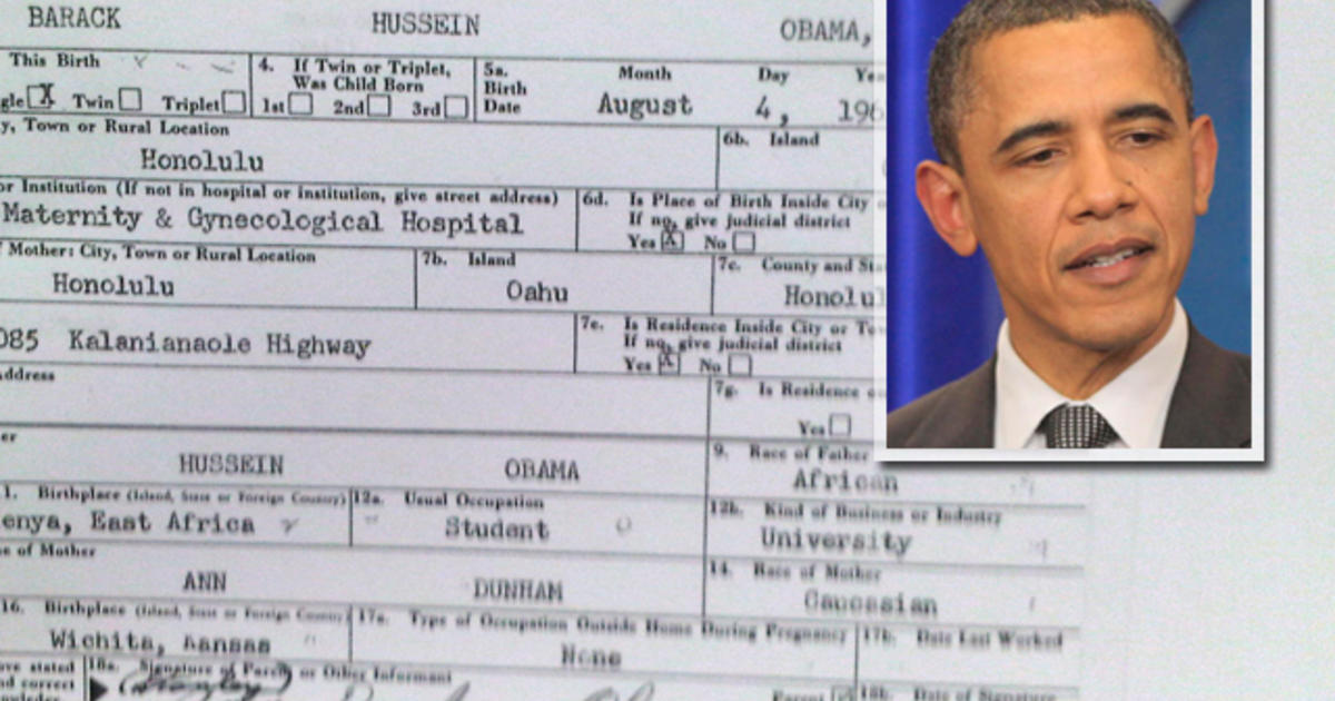Obama Releases Long Form Birth Certificate Cbs News