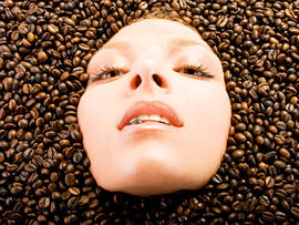 face, woman, coffee, beans, stock, 4x3