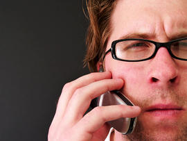 man, telephone, cellphone, talking, eyeglasses, thinking, stock, 4x3