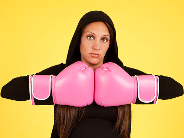 pink, boxing gloves, woman, hoodie, breast cancer, stock, 4x3