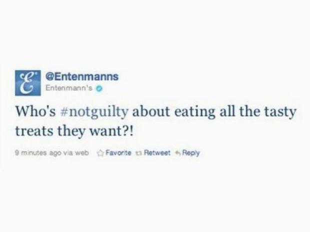 Hashtag fail: Entenmann's tweets #NotGuilty about eating treats