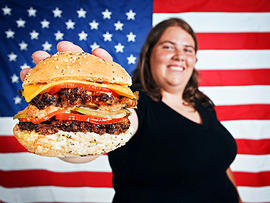 american, flag, burger, cheeseburger, overweight, stock, 4x3, obese, fat