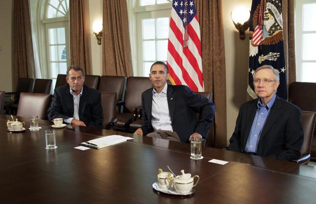 President Obama, House Speaker John Boehner and Senate Majority Leader Harry Reid