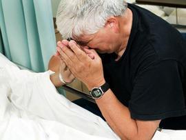 loss, grief, sickness, crying at hospital bed, sadness, ill, terminal