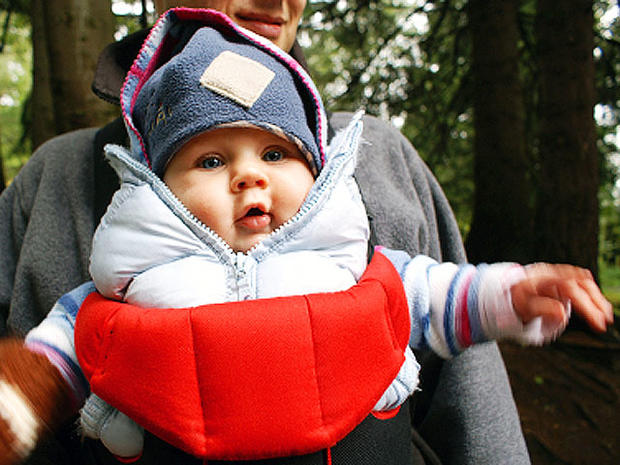 baby, carried, forward, facing, facing forward, scared, infant, stock, 4x3, sling