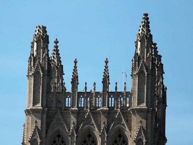 One of the spires , left, of the National Cathedral is seen missing following an earthquake in the Washington,  Aug., 23, 2011.