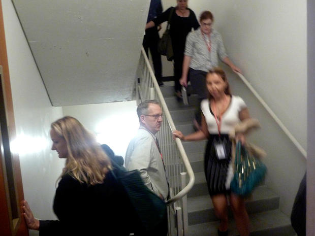 People use the stairs to evacuate a building in Washington, Wednesday, Aug. 24, 2011, after an earthquake hit the Washington area.