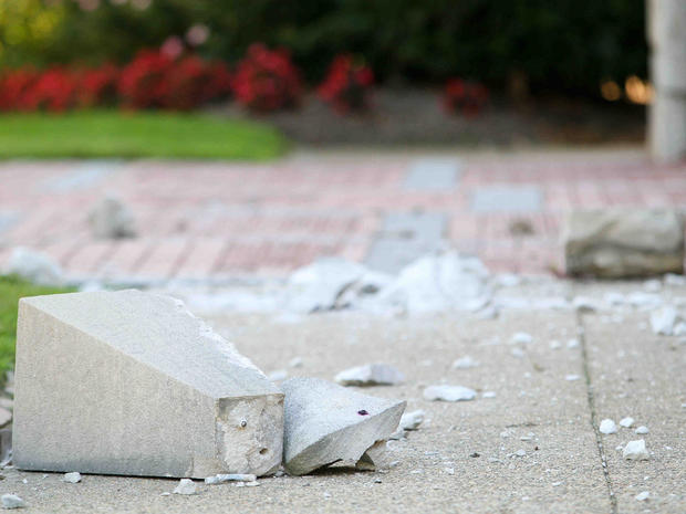 Large chunks of stone that fell off of St. Thomas the Apostle church in Wilmington, Del. are shown Aug. 23, 2011, after one of the strongest earthquakes ever recorded on the East Coast.