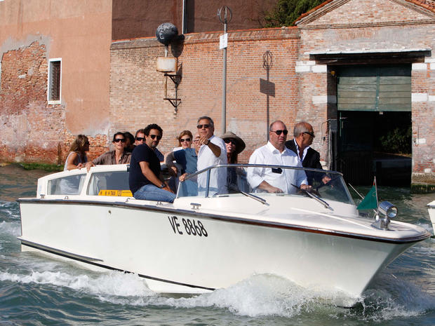 George Clooney sets sail in Venice