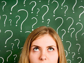 questioning, wondering, asking, question marks, confused, thinking, chalkboard, blackboard, stock, 4x3