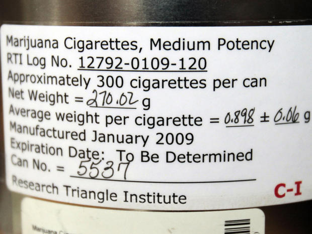 Label on federally distributed marijuana cigarettes