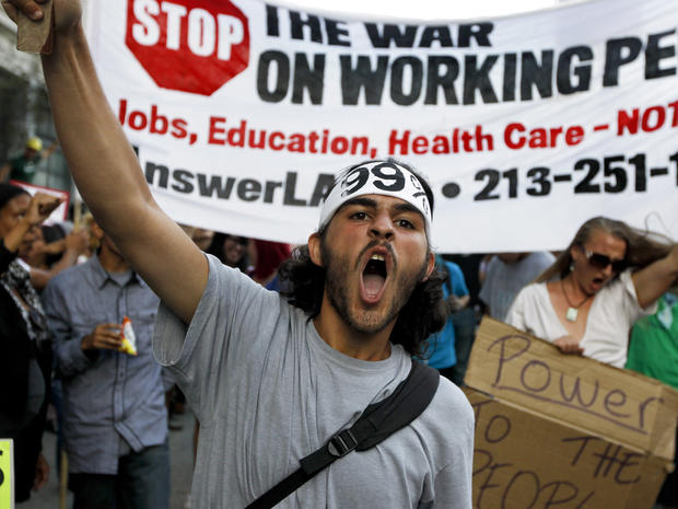 Anti-Wall Street demonstrators march in downtown Los Angeles Oct. 3, 2011.