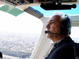 Pilot Paul Dudley seen flying over the Hudson River