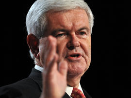 US Republican presidential hopeful former House Speaker Newt Gingrich addresses the Family Research Council's Values Voter Summit in Washington on October 7, 2011.