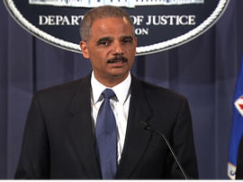 Attorney General Eric Holder is seen at a press conference, October 11, 2011.