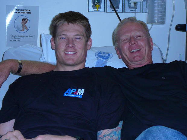 John Needham and his father, Michael Needham Sr., at the Naval Medical Center in San Diego.