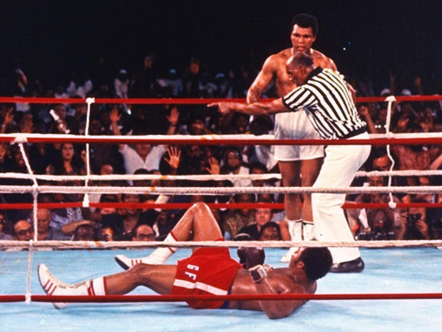 Muhammad Ali knocks down George Foreman