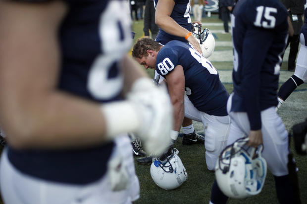 Penn State tight end Andrew Szczerba takes a knee after their 17-14 loss