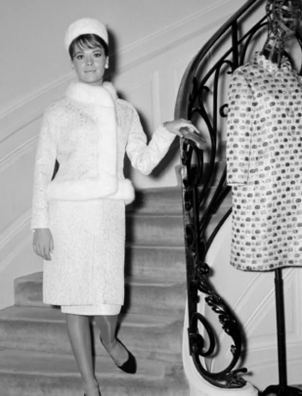 Actress Natalie Wood poses in Yves Saint Laurent in Paris, 1964