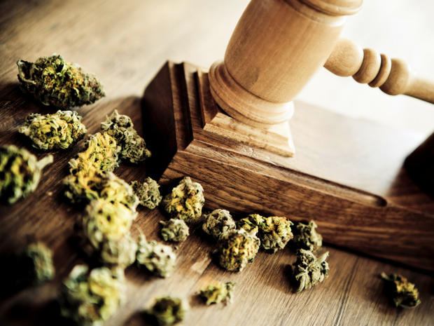 Gavel and marijuana