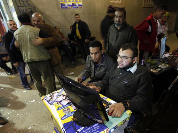 Muslim Brotherhood volunteers man computer stations in Cairo