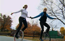 Susan Spencer learns to ride a unicycle