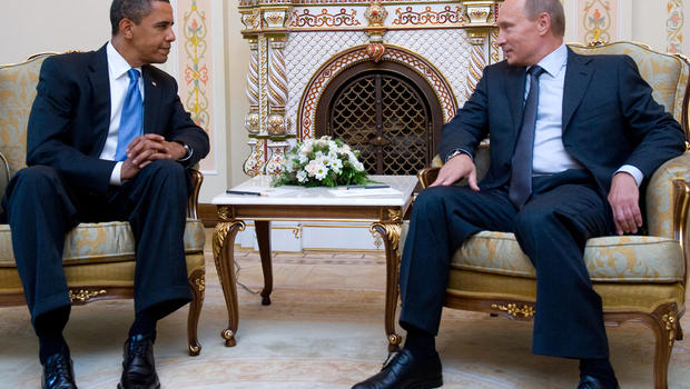 President Obama and Russian Prime Minister Vladimir Putin meet at the latter's country residence home in Novo Ogaryovo, Russia, near Moscow, July 7, 2009.