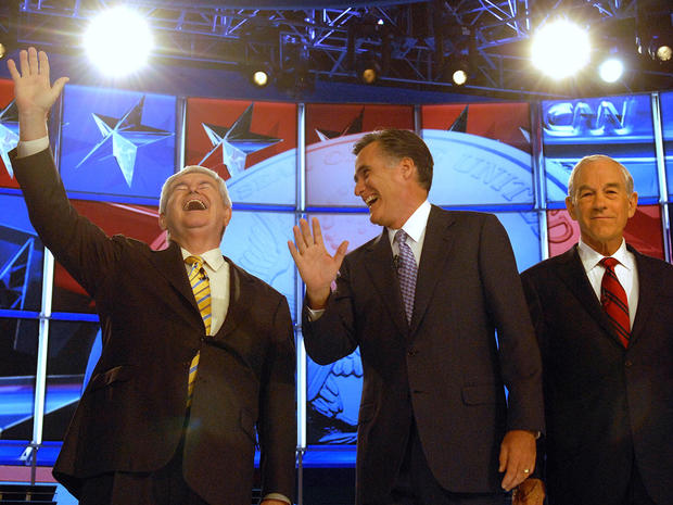 Newt Gingrich, Mitt Romney and Ron Paul
