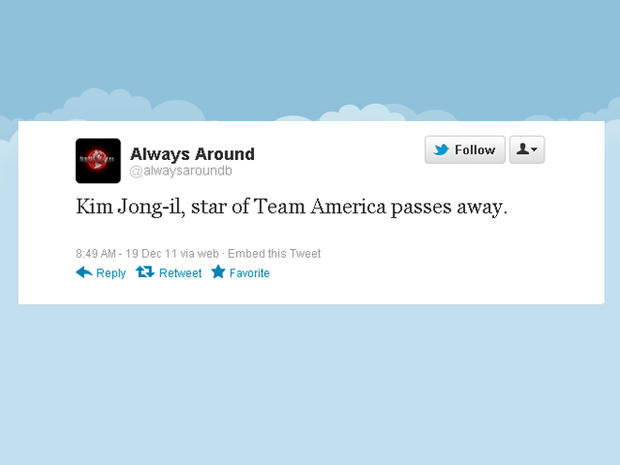 "Twitter reacts to Kim Jong Il's death with ""Team America"" references"
