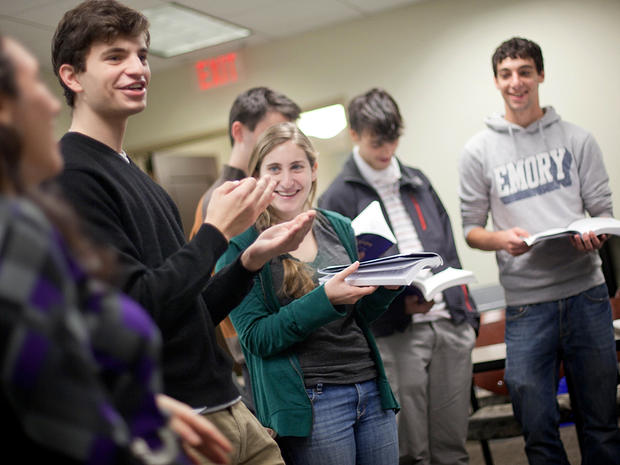 Matthew Birnbaum, 19, left, leads a class in singing a song during a Yiddish class at Emory University Nov. 10, 2011, in Atlanta. This isn't music appreciation or even a class at a synagogue. It's the first semester of Yiddish at Emory University, one of just a handful of colleges across the country studying the Germanic-based language of Eastern European Jews.