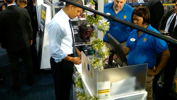 obama goes christmas shopping at best buy cbs news - Best Buy Christmas Hours