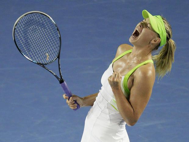 Maria Sharapova screams after winning a point