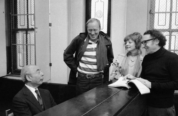 "Nicol Williamson, center, prepares for the opening of his newest musical ""REX"" with composer Richard Rodgers, left, and fellow actors on Jan. 19, 1976, in New York."