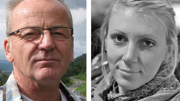 This combination photo made from undated images provided by the Danish Refugee Council shows Dane Poul Hagen Thisted, left, and American Jessica Buchanan.