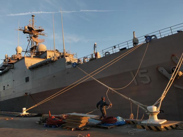 The amphibious assault ship Ponce is seen in this Dec. 2, 2011 file photo. The ship had arrived at Norfolk Naval Station to be decommissioned after a 40-year career. But reports are now coming it that it might be sent to the Mideast as a floating base for commando operations.